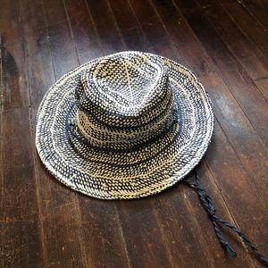 J.Crew Blue & White Straw Hat Brand New